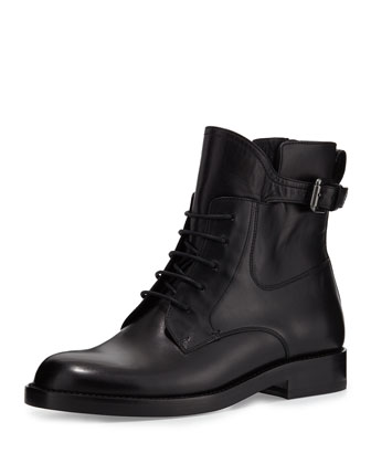 Leather Buckle-Strap Combat Bootie, Black