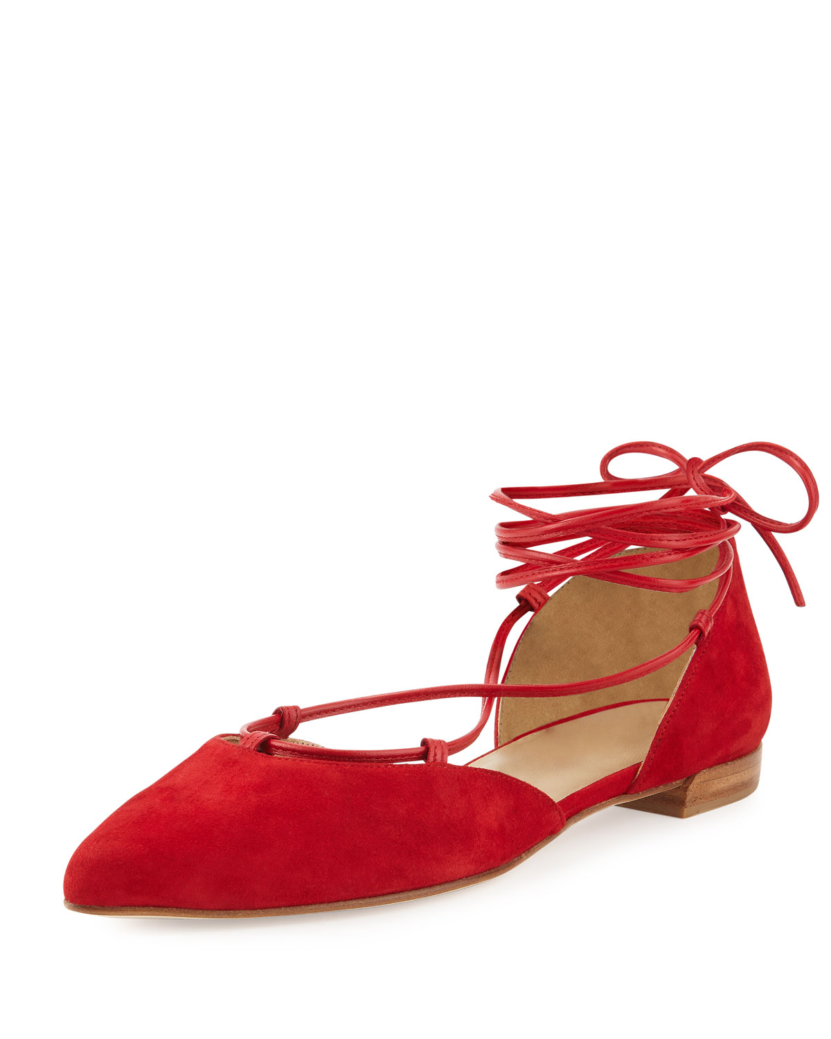 Gilligan Lace-Up d'Orsay Flat, Red, Women's, Size: 35.5B/5.5B - Stuart Weitzman