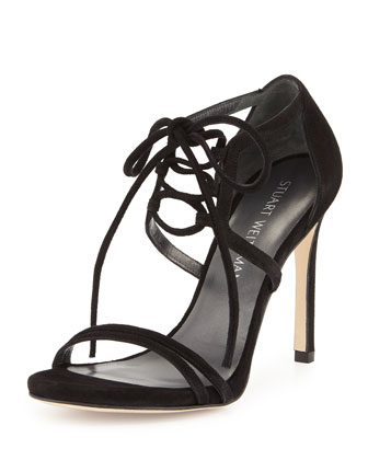 Hottime Suede Lace-Up Sandal, Black