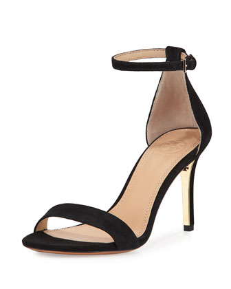 Classic Suede Ankle-Strap Sandal, Black