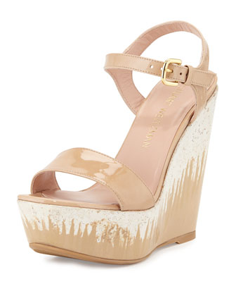 Single Patent Leather Wedge Sandal, Bambina