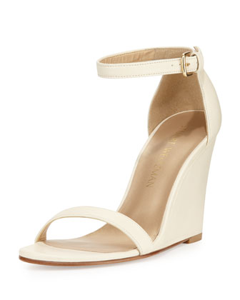 Walkway Leather Ankle-Strap Wedge Sandal, String