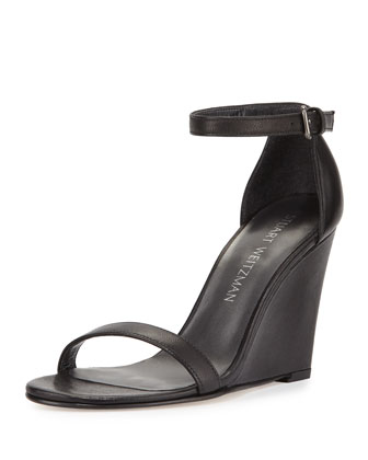Walkway Leather Ankle-Strap Wedge Sandal, Black