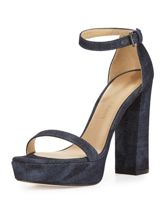 Walkway Denim Ankle-Strap Platform Sandal, Navy