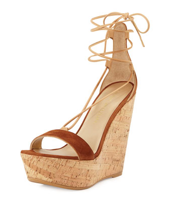 Wrap It Suede Lace-Up Wedge Sandal, Saddle