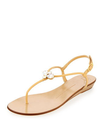 Zerlock Jeweled Thong Sandal, Sable