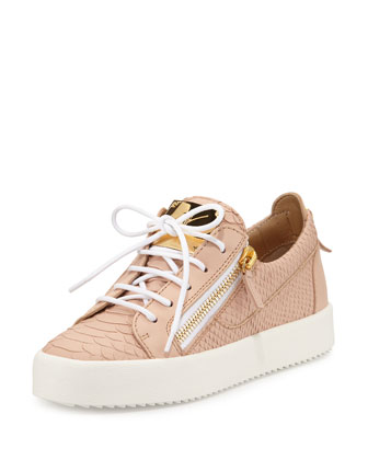 May Snake-Embossed Lace-Up Sneaker, Flesh