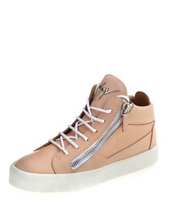 Leather High-Top Side-Zip Sneaker, Flesh