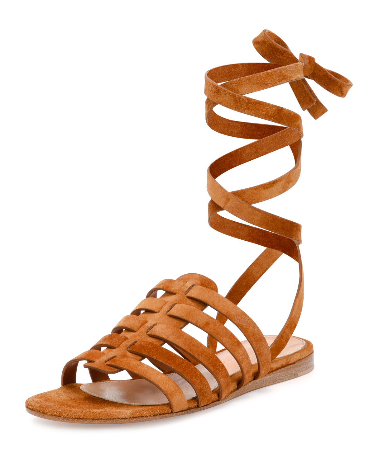 Suede Ankle-Wrap Gladiator Sandal, Luggage, Size: 35.0B/5.0B - Gianvito Rossi