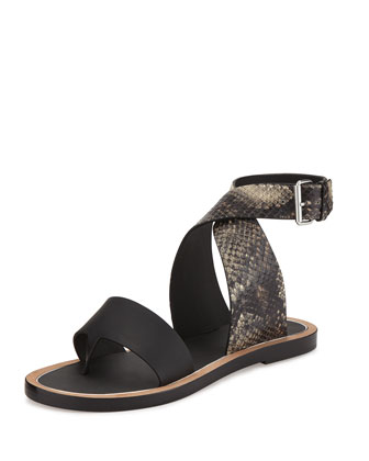 Mailin Snake-Embossed Ankle-Wrap Flat Sandal, Black