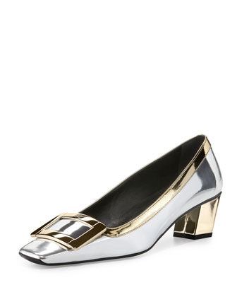 Decollete Belle Vivier Metallic Pump, Silver/Gold
