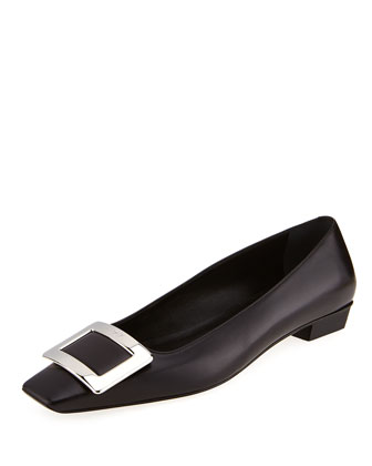Belle Vivier Leather Ballerina Flat, Black