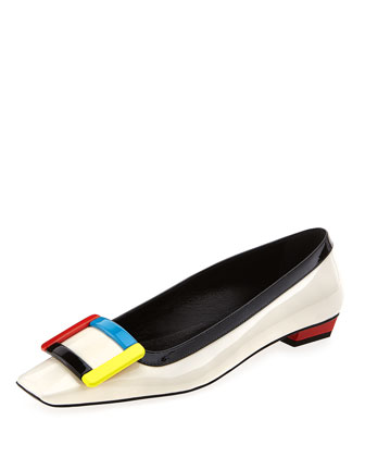 Belle Vivier Colorblock Buckle Flat, Multi