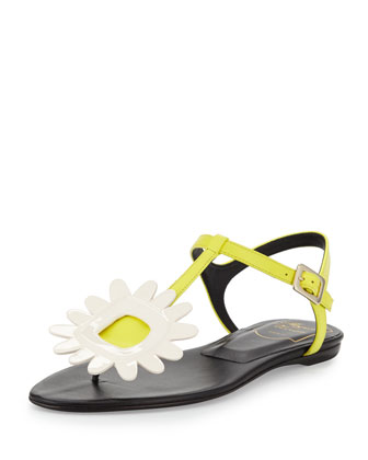 Thong Chips Flower Flat Sandal, White/Yellow