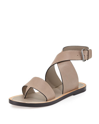 Mailin Leather Ankle-Wrap Flat Sandal, Pumice