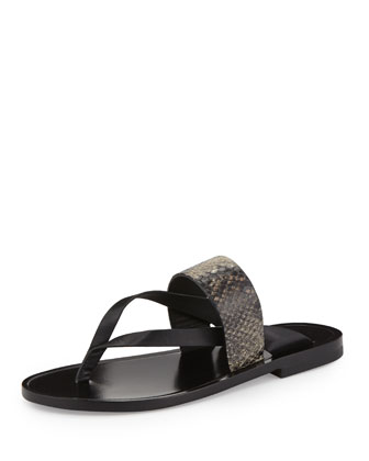 Tala Snake-Embossed Flat Thong Sandal, Black/Natural