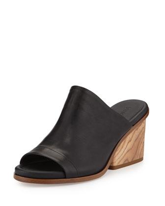 Tilda Wooden-Heel Leather Mule, Black