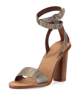 Nava Striped Ankle-Wrap Sandal, Metallic/Multi