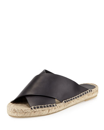 Castel Leather Crisscross Flat Espadrille Sandal, Black