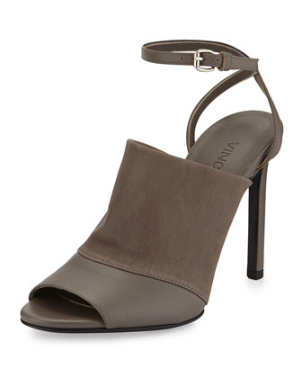 Grace Leather Ankle-Strap Sandal, Driftwood