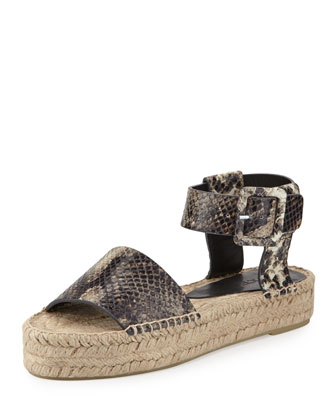 Edina Snake-Embossed Espadrille Sandal, Natural