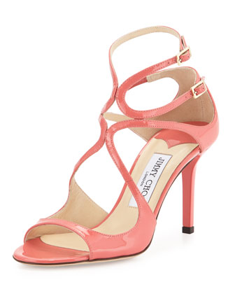 Ivette Strappy Patent Sandal, Coral Pink