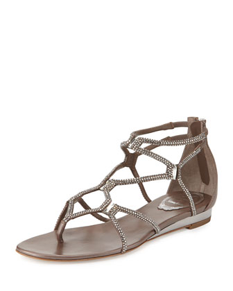 Flat Crystal Gladiator Thong Sandal, Gray