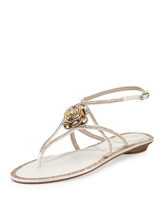 Floral Crystal-Trim Flat Thong Sandal, White