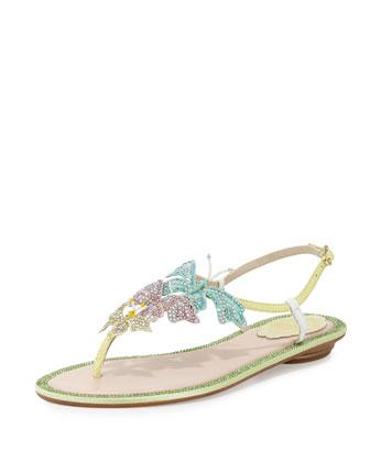 Crystal Butterfly T-Strap Sandal, Multi