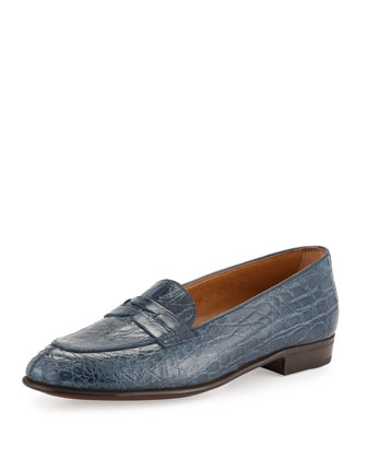Crocodile-Embossed Penny Loafer, Denim