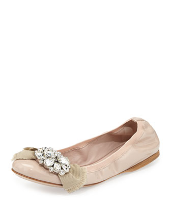 Patent Crystal Ballerina Flat, Cipria