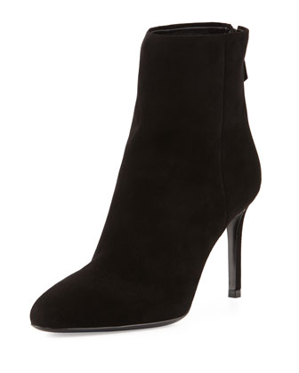 Suede High-Heel Bootie, Black (Nero)