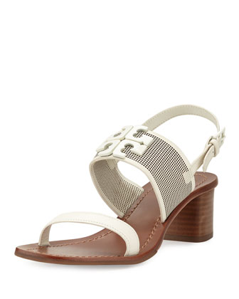 Lowell 2 Perforated Leather Sandal, Ivory
