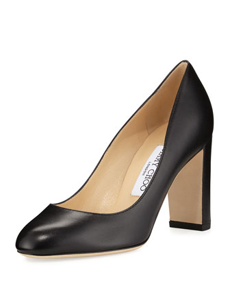 Laria Leather 85mm Round-Toe Pump, Black