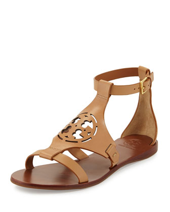 Zoey Leather Logo Flat Sandal, Sand