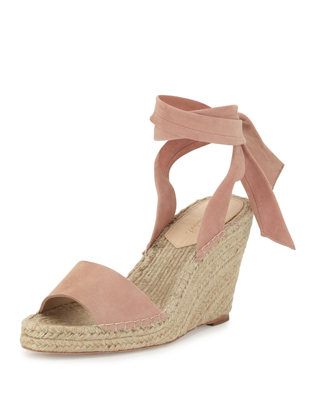 Harper Ankle-Wrap Wedge Espadrille Sandal, Blush, Size: 35.0B/5.0B - Loeffler Randall