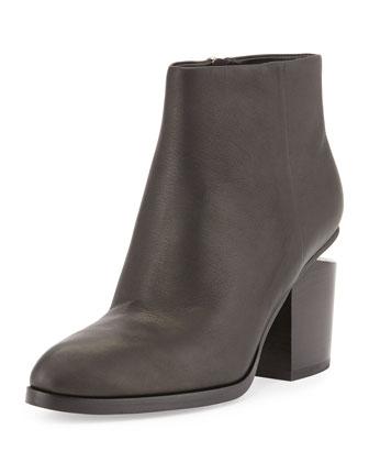 Gabi Tilt-Heel Leather Boot, Black/Rhodium