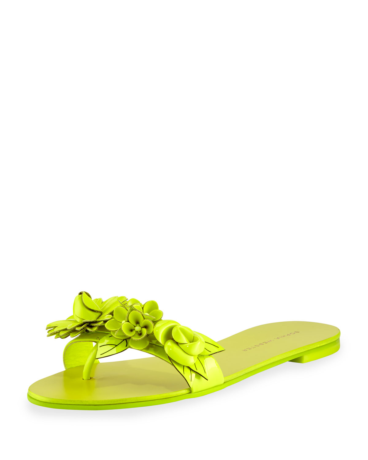 Lilico Floral Slide Sandal, Fluorescent Yellow, Size: 35.0B/5.0B, Fluoro Yellow - Sophia Webster