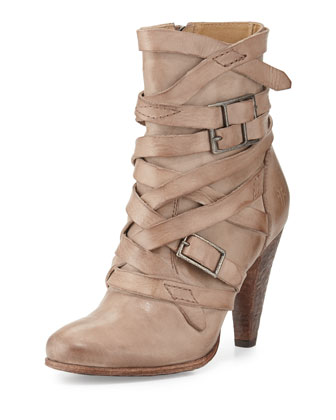 Mikaela Strappy Leather Boot, Gray