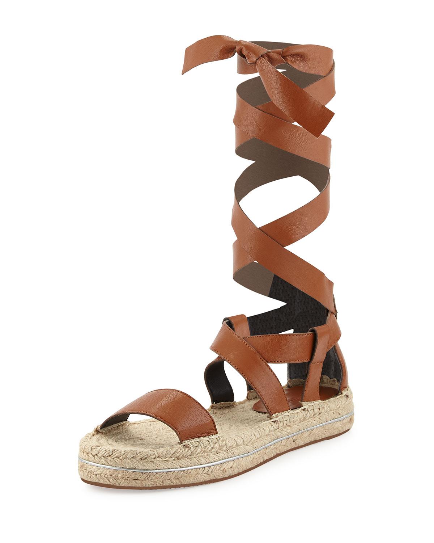 Gila Lace-Up Espadrille Sandal, Chestnut (Brown), Size: 5.5B - Rebecca Minkoff