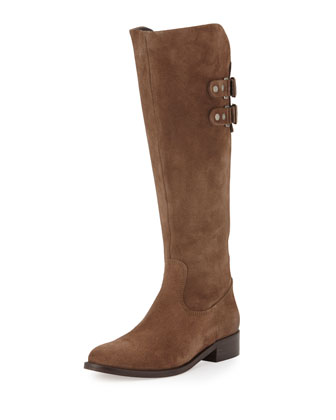 Roma Suede Riding Boot, Taupe