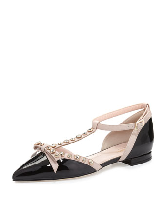 becca jeweled t-strap ballerina flat, black/powder