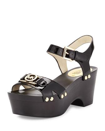 Charm Mid Patent Platform Sandal, Black