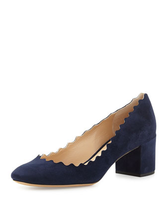 Scalloped Suede Ballerina Pump, Blue Lagoon