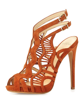 Suede Caged 120mm Sandal, Sierra