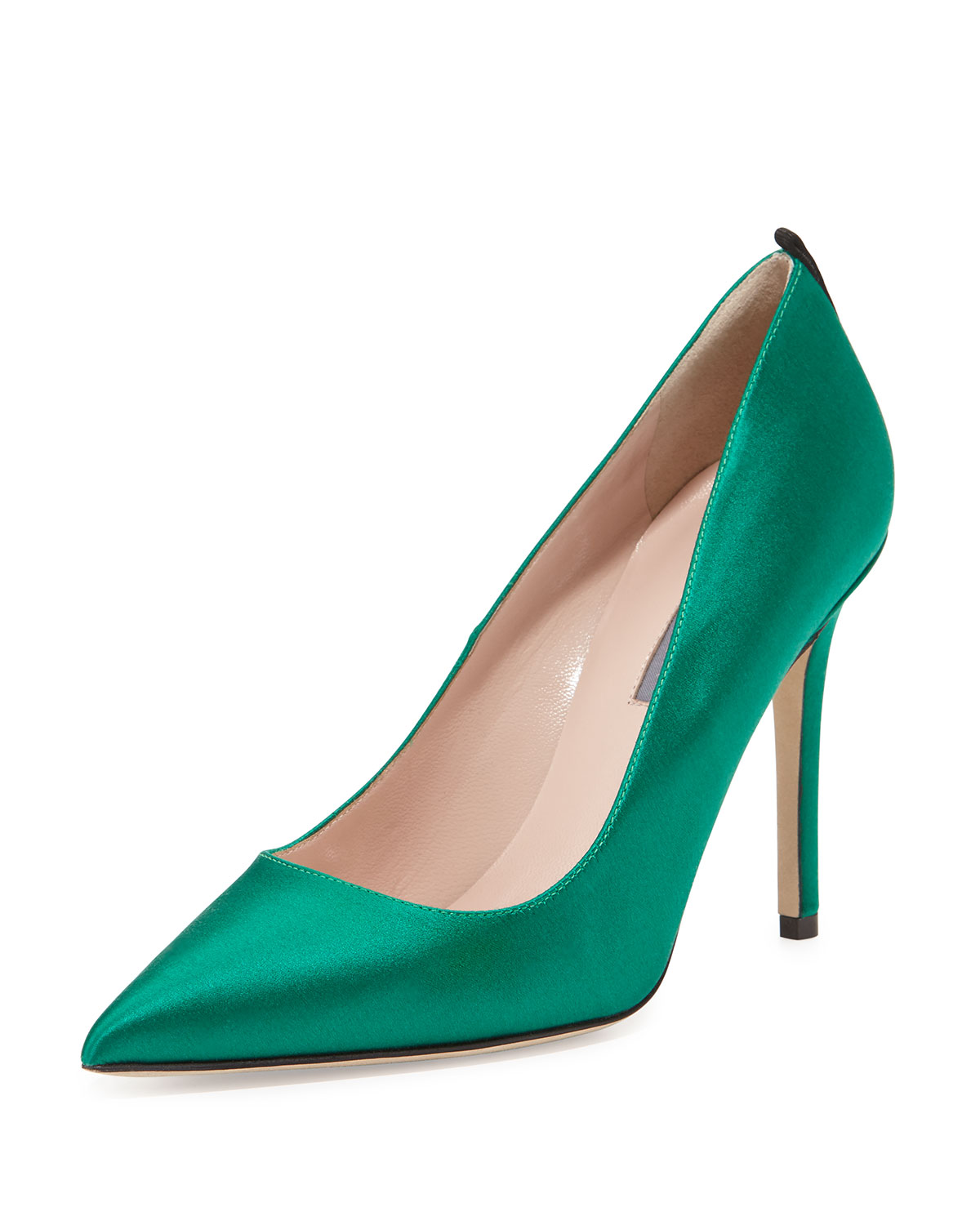 Fawn Satin Pointed-Toe Pump, Emerald (Green), Women's, Size: 38B/8B - SJP by Sarah Jessica Parker