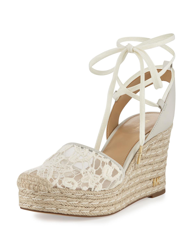 MICHAEL Michael Kors Margie Embroidered Ankle-Wrap Espadrille Wedge Sandal, Cream (Ivory), Size: 38.5B/8.5B