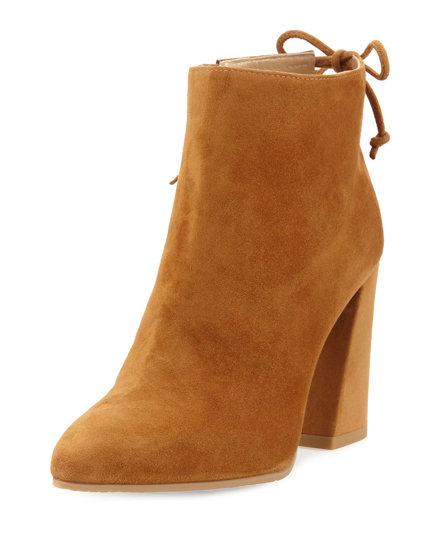 Grandiose Suede Pointed-Toe Bootie, Camel, Women's, Size: 35B/5B - Stuart Weitzman