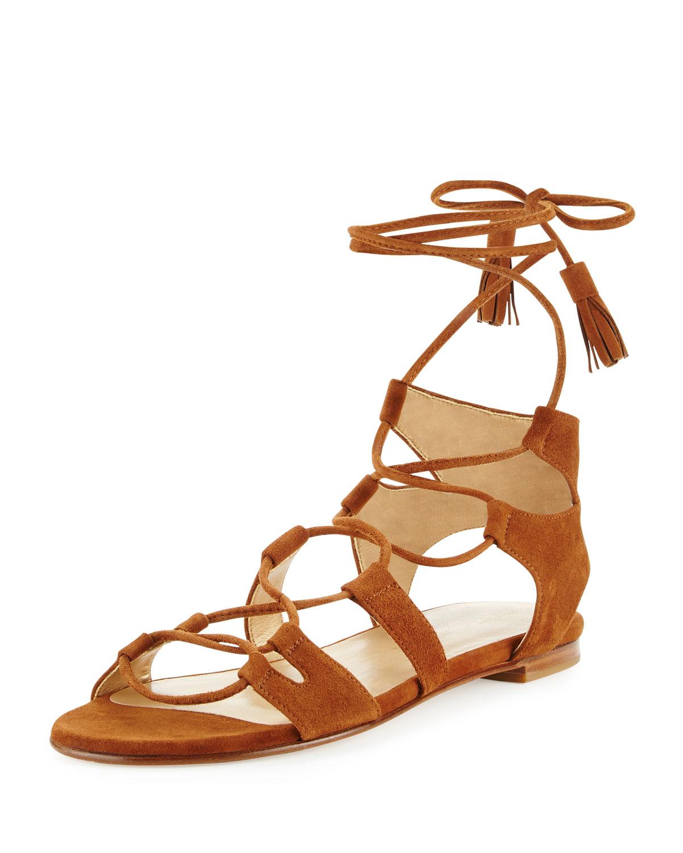 Romanflat Suede Flat Gladiator Sandal, Amaretto (Brown), Women's, Size: 10.5B - Stuart Weitzman