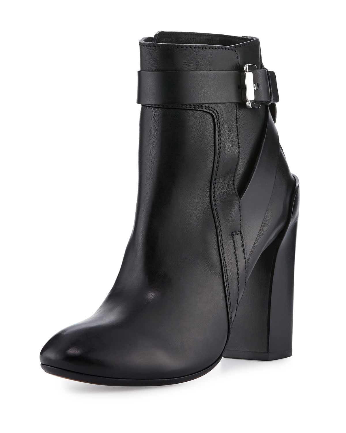 Strappy Leather Ankle Boot, Black, Size: 7B/37EU - CoSTUME NATIONAL